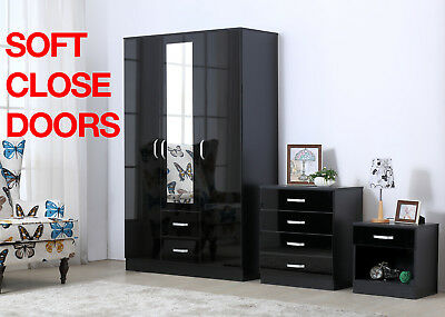 Gladini XL Black High Gloss 3 Piece Bedroom Furniture Set-Wardrobe Chest Bedside