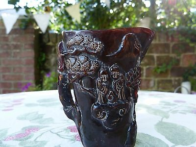 Antique Libation Chinese Hand Carved Ox Horn Cup Signed