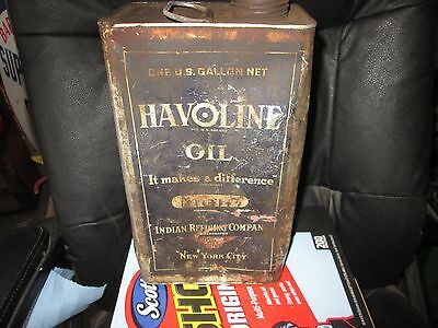 Original Early Havoline Oil Gallon Can By The Indian Refining Co.