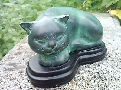Metal Brass Cat Vintage Antique Figurine Statue Asian Green Patina Feline