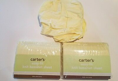 Infant Carters Knit Bassinet Sheet - Yellow 100% Cotton Jersey Lot of 3