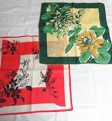 """2 Vintage Large Print Handkerchiefs- Green Floral / Red Floral  15"""" square"""
