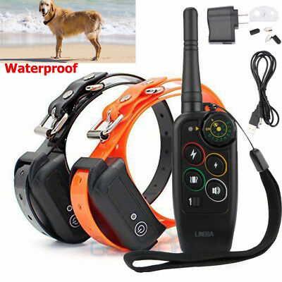 1100 Yard Remote Waterproof Rechargeable Two Dog Pet Training Shock Collars Kit
