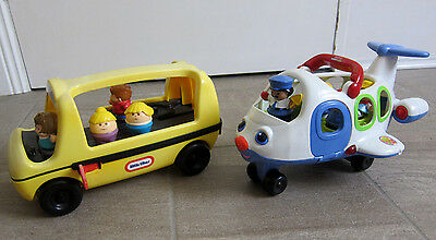 Fisher Price Little People Areoplane Plane & Little Tikes Bus +  8 Characters