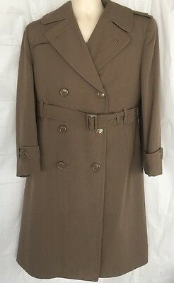 Army Overcoat Officer Field Trench Coat Regulation Sz 38 Wool 1953 Official Mens
