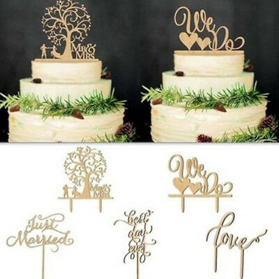 Wooden Cake Topper Wedding Party Kids Happy Birthday Married Cake Decorating