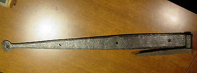 Primitive Hand Forged Antique Iron Strap Hinge w Pintle Old Hardware Barn Door D
