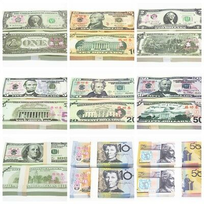 100pcs Copy Fake Money Dollar GBP EUR AUD Play Prop Money Training Banknotes
