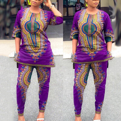 2pcs Women Dashiki African Straight Top Blouse Pants Party Shirt Trousers Dress