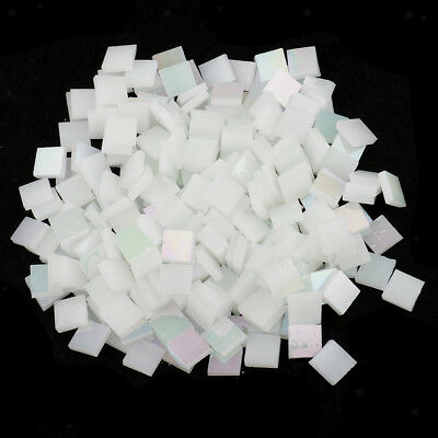 250pcs Glass Mosaic Tiles Pieces Square for DIY Crafts Material Bright white