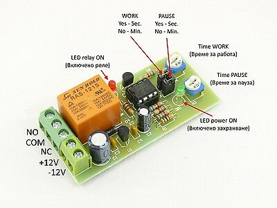 Cyclic Timer Switch Relay Delay ON OFF Repeater Interval 1 to 120 Sec Min 12V