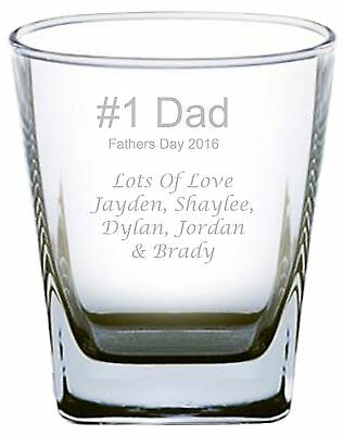 Fathers Day Engraved Glass - #1 Dad - Personalised Order now for fathers day