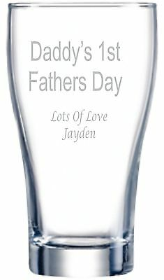 Engraved Glass - Daddys First Fathers Day- Personalised - 425ml Beer Glass