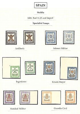 SPAIN Melilla: 1893-94 Military stamps and labels - 97450