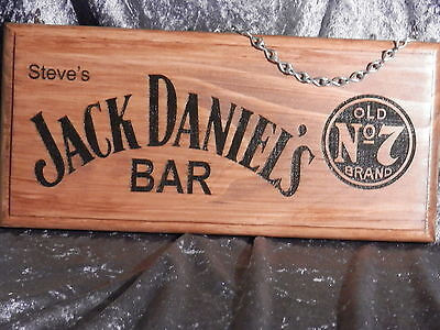 Personalised Jack Daniels Bar Sign (Name In Top Left Corner) Engraved Timber