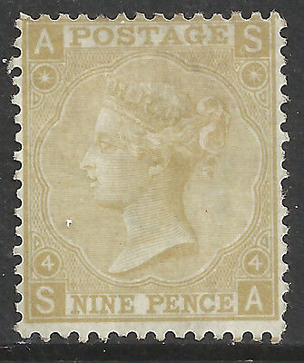 GREAT BRITAIN -  QUEEN VICTORIA 1867 9d straw pl.4 mint large - 99329