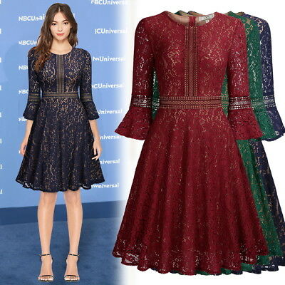 Women's Vintage Full Lace Overlay Elegant Cocktail Evening Party Business Dress
