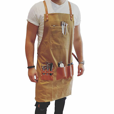 BARBER PRO Barber Apron Waxed Canvas Functional Barber Aprons (Desert Sand)