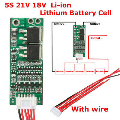 5S Lithium Battery 18V 21V 15A Protection PCB Board Li-ion BMS Charger Cell+Wire