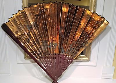 "Antique Large, Asian Chinese Oriental Gold Fan Wall Decor Hand Painted 48"" x 30"""