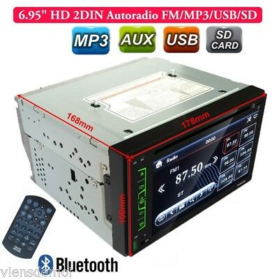 """6.95"""" Autoradio Car 2 DIN Stereo player SD/FM/DVD/MP3/AUX Touch Screen Bluetooth"""