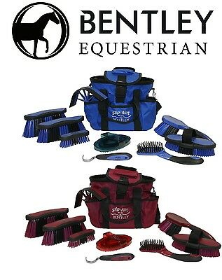 Deluxe Bentley Equestrian Antibacterial Horse Grooming Brushes Cleaning Kit Set