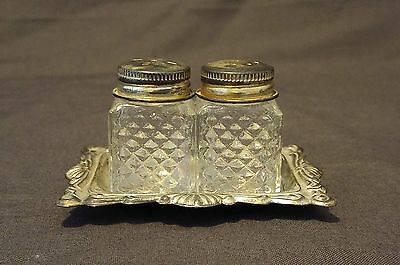 Vintage Salt and Pepper Shakers Silver Plated with Tray Made in Hong Kong