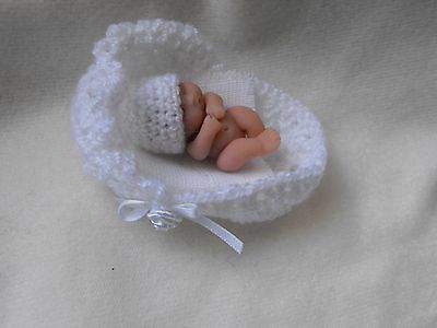 OOAK artist miniature 4.5  cm  polymer  clay  white baby doll  1/12th by HARRY
