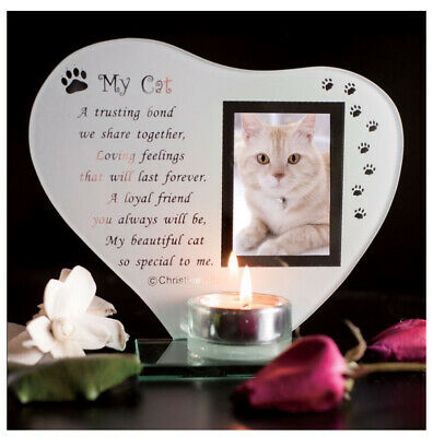 My Cat - Inspirational poem, candle and photo holder glass memorial plaque