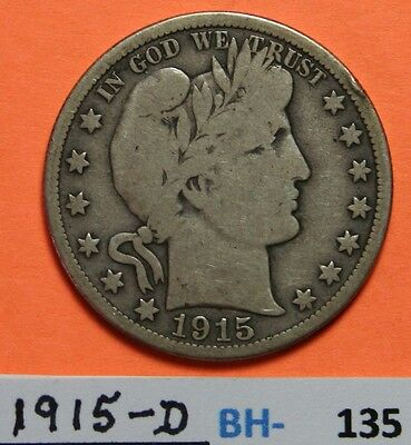 1915-D US Barber silver Half Dollar in Very Good Condition - Price per Each Coin