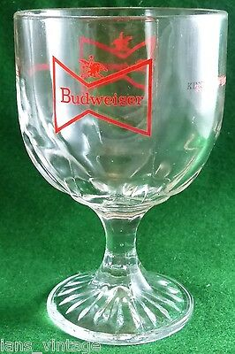 Budweiser Beer Thumbprint Chalice/Goblet, Glass Bowtie Logo, King Of Beers