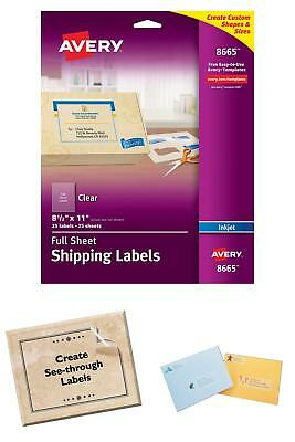 """Avery Clear Full-Sheet Shipping Labels for Inkjet Printers 8.5 x 11"""" Pack of 25"""