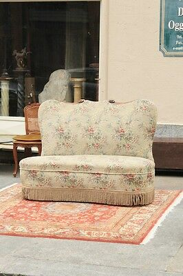 Love Seat 50's, Decorations Carved, Fabric Original / Love Seat 50's
