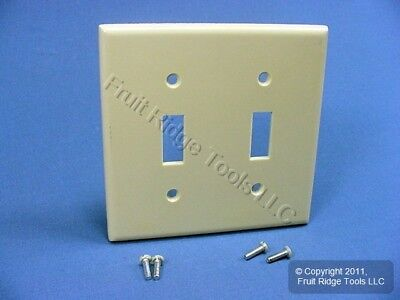 Leviton Ivory 2-Gang Toggle Switch Plastic Cover Wall Plate Switchplate 86009