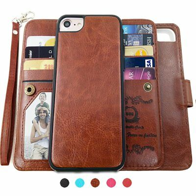 Magnetic Detachable Wallet Flip Case 9 Card Slot Removable Cover for iPhone 7 6+