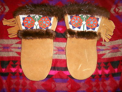 Hand Sewn Native American Beaded Leather Mittens