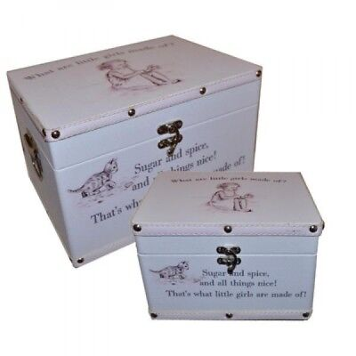 Baby Girl Keepsake Boxes (Set of 2) - What Are Little Girl Made of Design X2460G