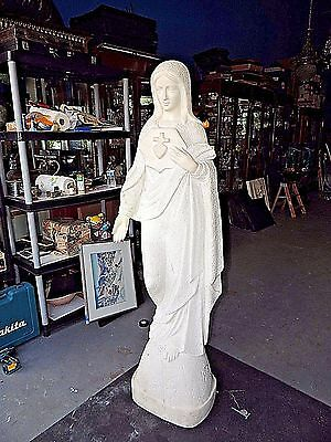 Estate Rare Large Life-Size Magnificent Hand-Carved Marble Figurine of Mary