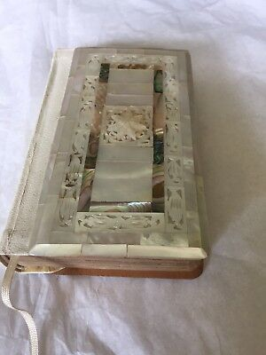 Vtg 1970's White Leather Mother Of Pearl Carved Cover Bible Collins Press Glassg