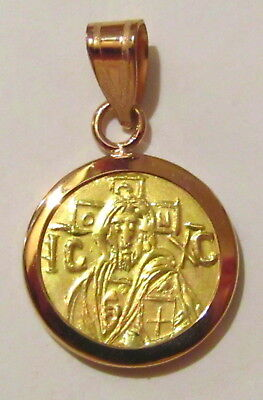 Christ first Byzantine coin icon Solid 22 Karat Gold Pendant 14K Bezel