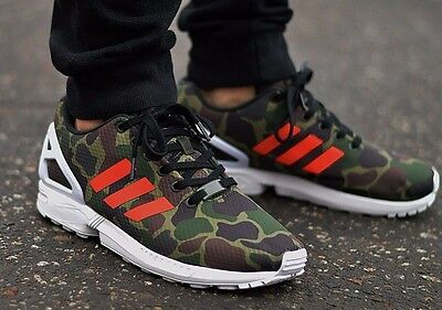 low priced f9e0d f5a3e New ADIDAS Originals ZX Flux Camo Casual Sneakers Mens green orange 9 10