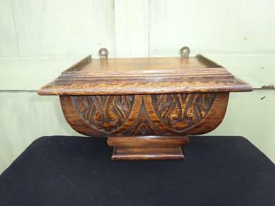 Antique Oak Clock Stand Carved Shelf Bracket Ornante Vintage Very Old