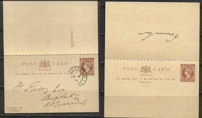 Natal 1904 Post Card with Reply Card
