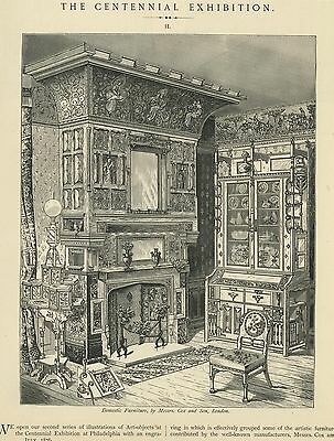 Antique Victorian Fireplace Mantle Cupboard Lamp Chair Mirror Ornate Paper Print