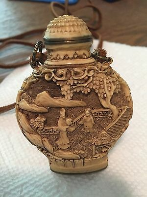 Chinese snuff bottle necklace with leather cord