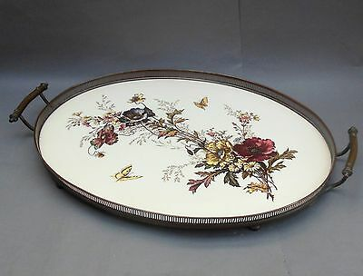 Large Antique Ceramic Serving TRAY with Metal Gallery ~ Aesthetic Floral ~ 48cm