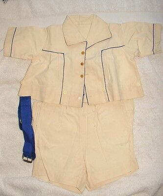 Vintage CREAM & NAVY LITTLE BOY'S shirt/short set - 1910s - 1920s approx. sz. 6