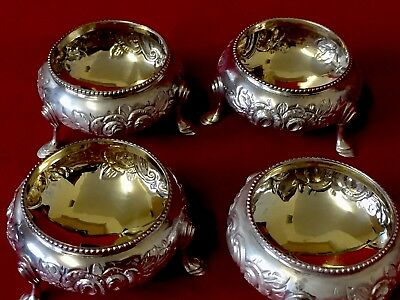 Antique Victorian Solid Silver Open Salts  Set Of Four 1866 Super Quality