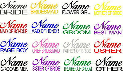 Wedding Day Bridal Party/name & Role Decals - Diy Personalised Sticker