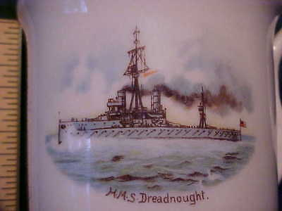 Rare Antique Child's Mug Battleship HMS Dreadnought 1906 Collectible Big Gun